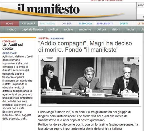 Il sito de Il Manifesto (Ansa)