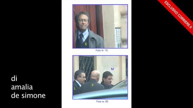 Nelle immagini della Direzione investigativa antimafia, l'incontro a Roma nel 2007 davanti a Unicredit tra Cosentino (Pdl), il presidente della Provincia di Napoli Cesaro e uomini della camorra