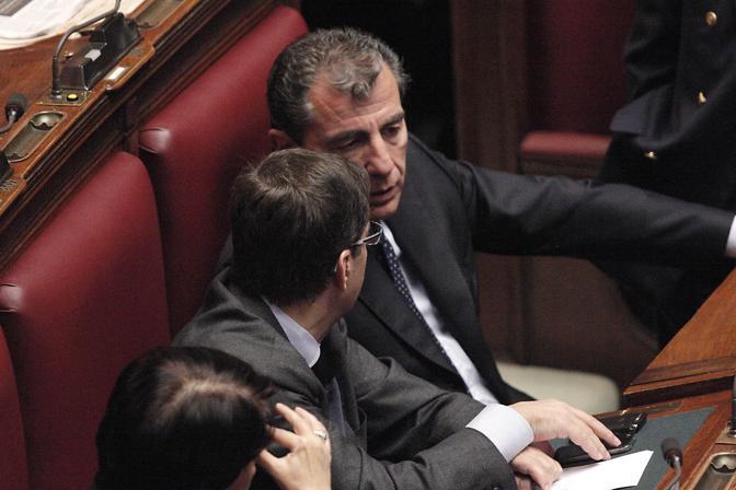 Nicola Cosentino e Marco Milanese nell Aula di Montecitorio (Ansa)