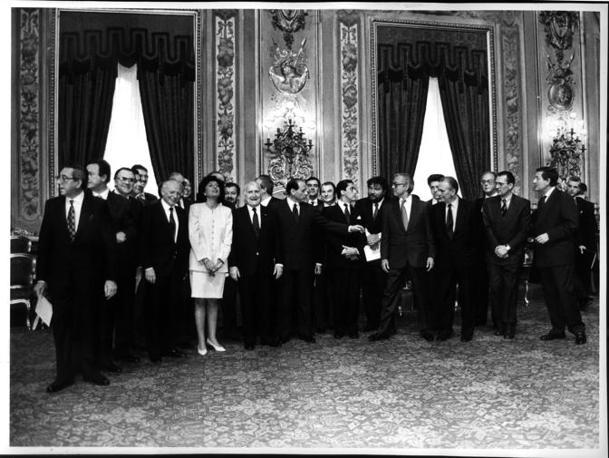 L?11 maggio 1994 al Quirinale al giuramento del primo governo Berlusconi (Archivio Corriere)