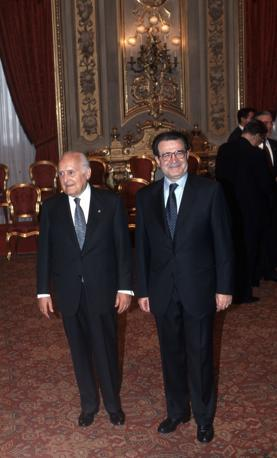 Al giuramento del primo governo Prodi nel 1996 (Fotogramma)