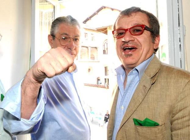 Umberto Bossi e Roberto Maroni a Castiglione Olona a Castiglione Olona (Ansa)