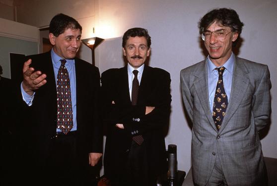Rocco Buttiglione, Massimo D'Alema e Bossi: i tre condivideranno un pezzo di strada dopo la caduta del Berlusconi I