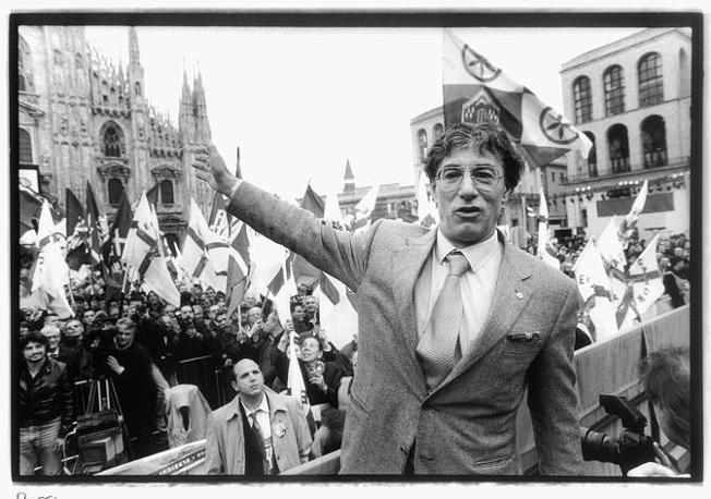 Umberto Bossi a un comizio,  nel 2001: il senatur è stato il padrone della Lega per quasi trent'anni. Ovvero dalla sua fondazione il 12 aprile 1984
