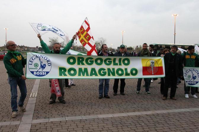 Manifestanti della Lega provenienti dalla Romagna (Ansa/Magni)