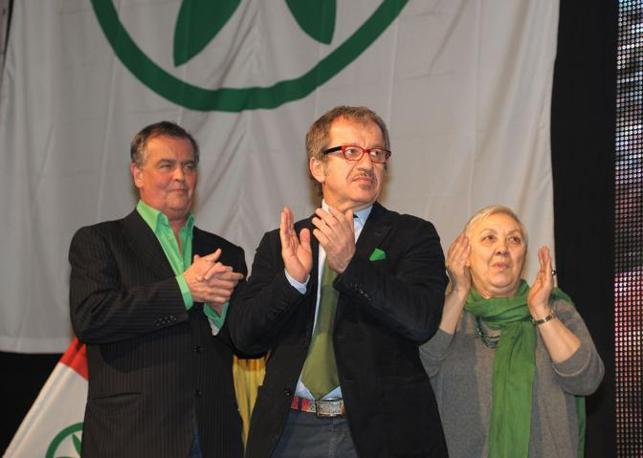 I «triumviri» Roberto Calderoli, Roberto Maroni, Manuela Dal Lago (Fotogramma)