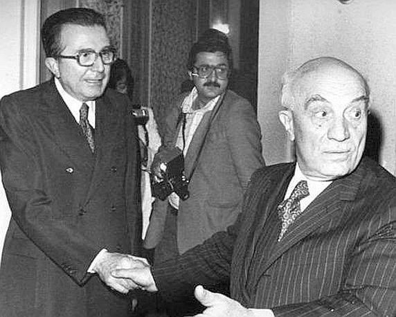 Andreotti con Amintore Fanfani nel 1978