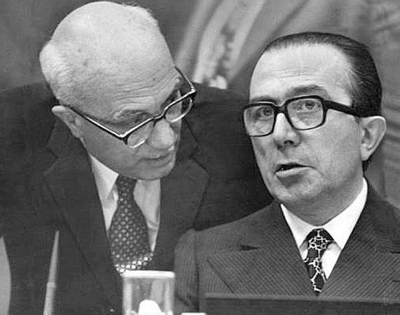 Andreotti e Fanfani nel 1973 (Ap)
