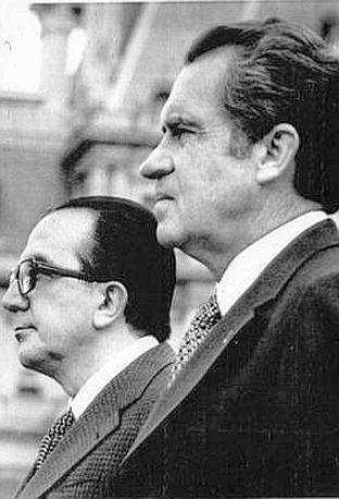 Nixon e Andreotti alla Casa Bianca nel 1973 (Ap)