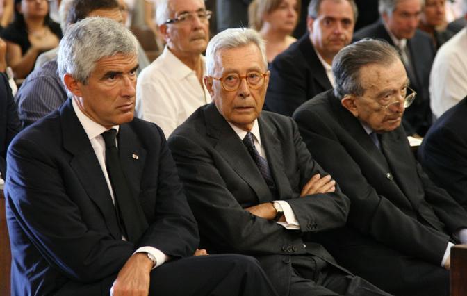 Casini, Forlani e Andreotti ai funerali di Antonio Gava (Ansa)