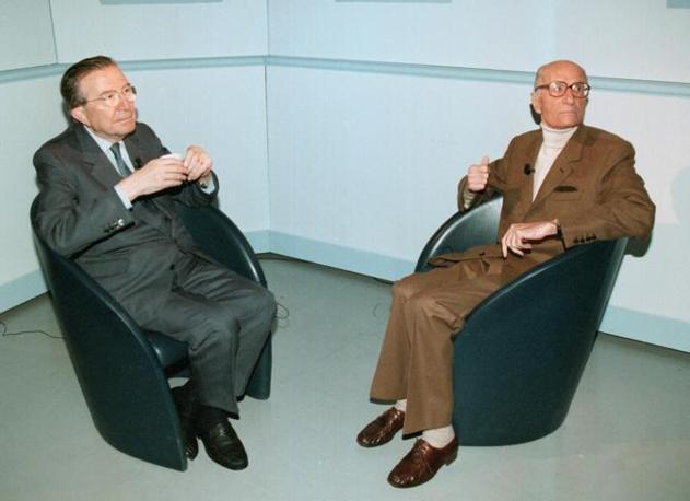 In televisione con Indro Montanelli (Ansa)