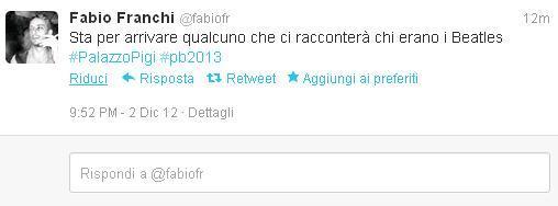 L'ironia vola alta anche prima che il segretario del Pd Bersani salga sul palco accompagnato dalle note degli Stadio (da Twitter)