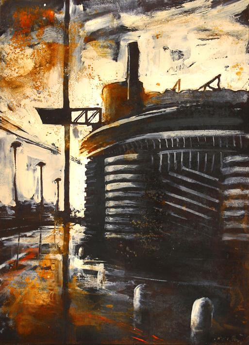 Milano_SanSiro, smalto su ferro, cm. 51x71, 2012