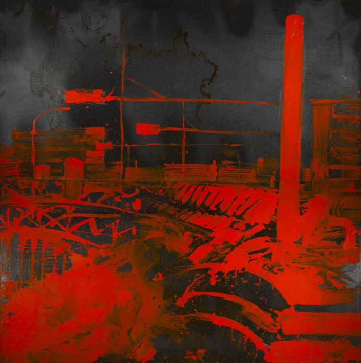 Fabbriche_rosso, smalto su ferro, cm. 200x200, 2007