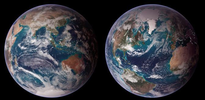 Doppio blu: due zone oceaniche - nell'oceano Indiano a sinistra e nell'Atlantico a destra - dove l'acqua � molto pi� blu rispetto alle zone circostanti. � l'immagine al quinto posto