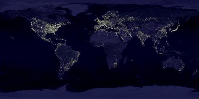 Sesto posto per la Terra di notte: immagini ottenute a pi� riprese dal Defense Meteorological Satellite Program