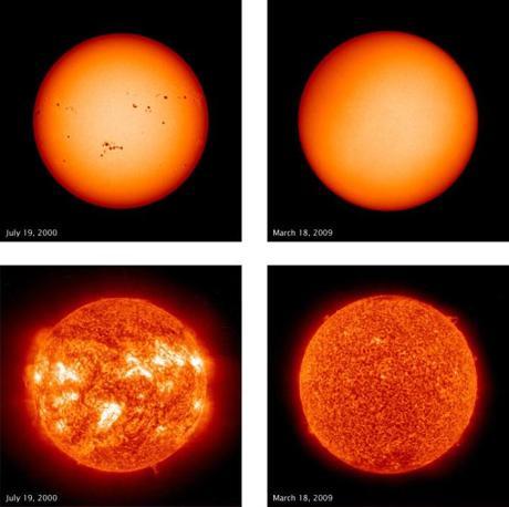 Al nono posto una composizione di quattro immagini del Sole tra il 19 luglio 2000 (a sinistra) e il 18 marzo 2009 (a destra). In alto ripresa in luce visibile, sotto agli ultravioletti. Le foto dimostrano il momento del massimo e del minimo del ciclo delle macchie solari. Agli ultravioletti si apprezza anche la netta differenza della composizione della superficie del Sole nei due momenti. Immagini riprese dal Solar and Heliospheric Observatory (SOHO)