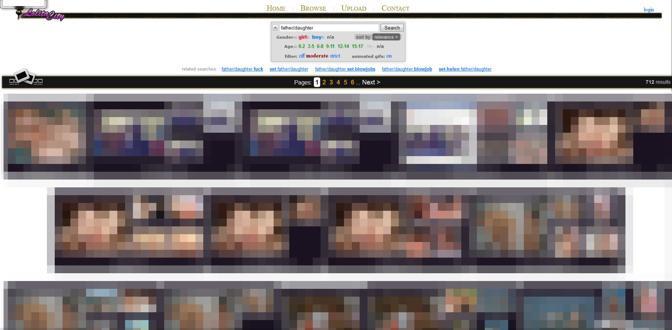 Immagini tratte da Lolita City, si notano le categorie (la più gettonata è padre-figlia), la classifica degli utenti meglio commentati in base alle foto postate e alle età dei soggetti (0-15), le gare di bellezza tra bimbe)