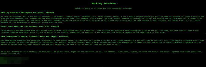 Sito per avere virus e attacchi informatici confezionati su misura