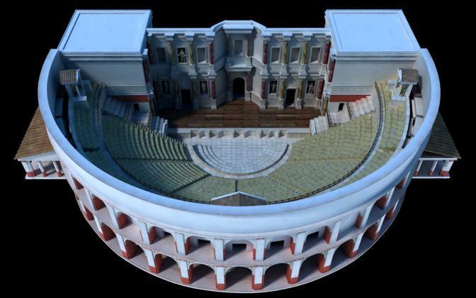 La ricostruzione del teatro di Pompei, realizzato per il nuovo museo archeologico virtuale di Ercolano, che apre i battenti il 16 novembre