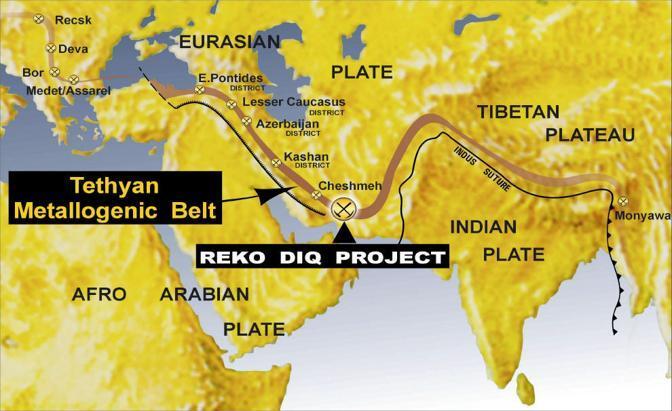 La cintura magmatica della Tetide che si estende dalla Romania a Reko Diq (da Tethyan.com)