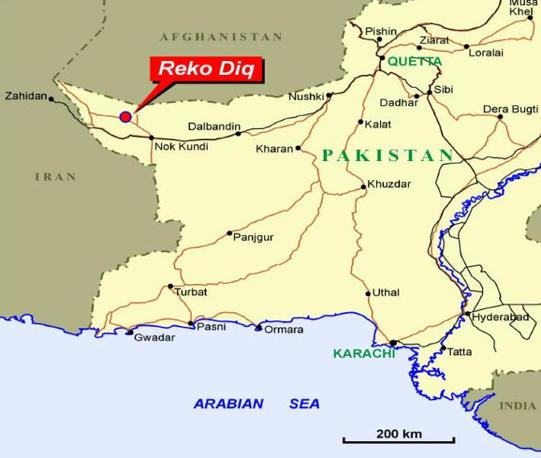 L'area della miniera si incunea tra Iran e Afghanistan (da Tethyan.com)