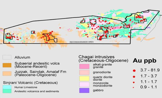 Gli affioramenti geologici con il contenuto di oro