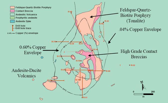 Gli affioramenti del porphyry copper occidentale H14 e i tenori in rame (da Tethyan.com)