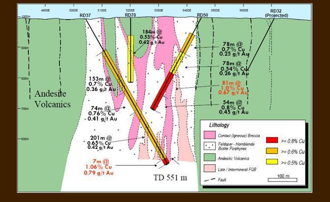 Il porphyry copper occidentale H14 e i tenori in rame e oro riscontrati (da Tethyan.com)