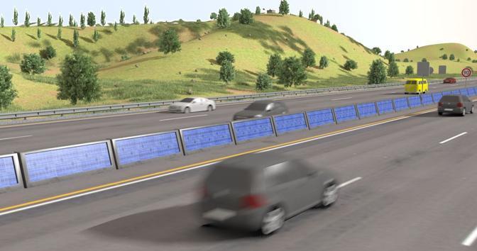 Il rendering della disposizione dei pannelli solari a film sottile sulle barriere spartitraffico in cemento armato tra le carreggiate delle autostrade (Paoletti)