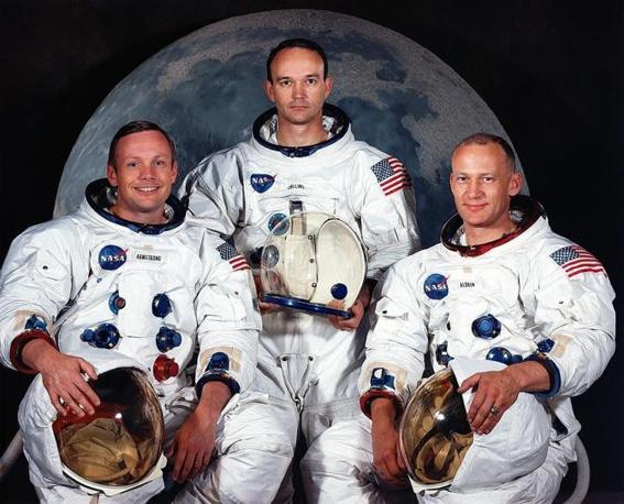 L'equipaggio dell'Apollo 11, da sinistra: Armstrong, Collins e Aldrin (Epa)