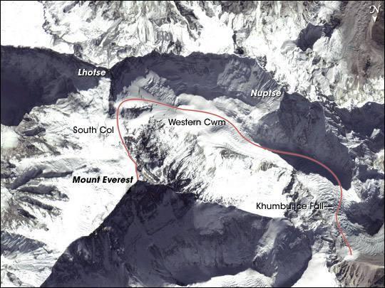 La cima dell'Everest con il Colle Sud il 29 novembre 2001dal satellite Ikonos. In rosso il percorso seguito dai primi scalatori Edmund Hillary e Tenzing Norgay nel 1953 (Nasa)