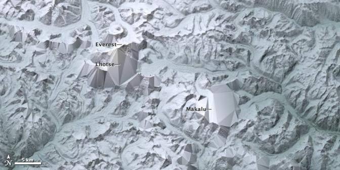 In questa immagine si evidenzia il sistema di modellizzazione per creare la più accurata mappa topografica della Terra (Nasa)
