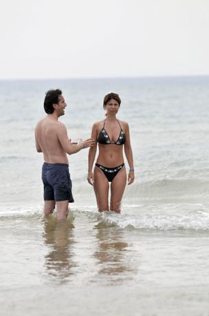 Susanna Messaggio con il marito (Olycom)