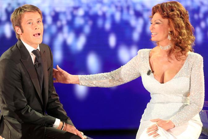 La Loren con Emanuele Filiberto (Ansa)