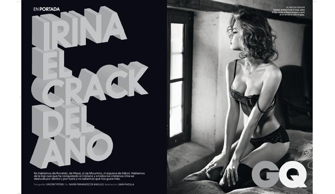 """La  modella russa Irina Shayk, nuda su una rivista, ed è polemica. Le foto senza veli della fidanzata di Christiano Ronaldo sono uscite sull'edizione spagnola di «GQ». Tutte poco vestite, e in due Irina appare senza nulla indosso. Secondo """"El Mundo"""" la modella ha protestato, affermando che lei aveva posato sempre con un tanga color carne che nelle due foto incriminate è stato tolto con Photoshop"""