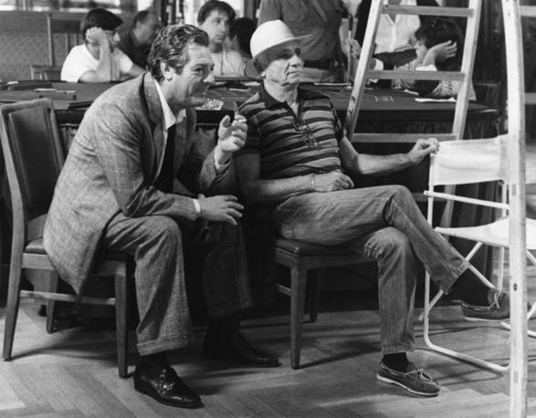 Monicelli con Marcello Mastroianni nel 1985 sul set del film «Le due vite di Mattia Pascal»