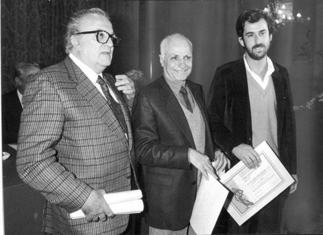 Fellini, Monicelli e Moretti nel 1986