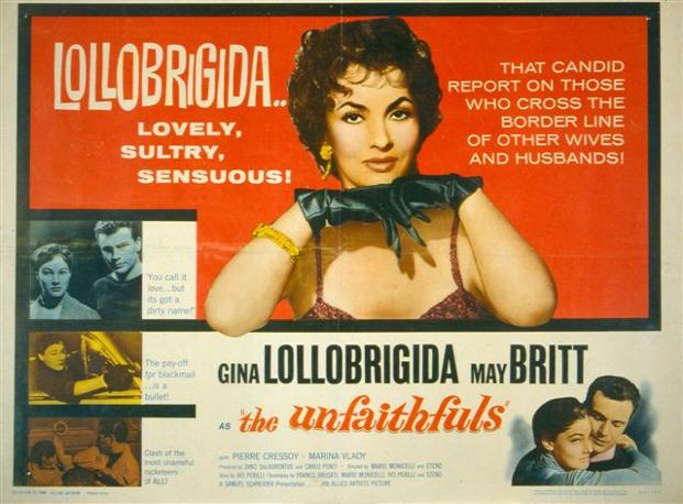 Le infedeli con Gina Lollobrigida (1953): locandina d&#39;epoca in inglese 