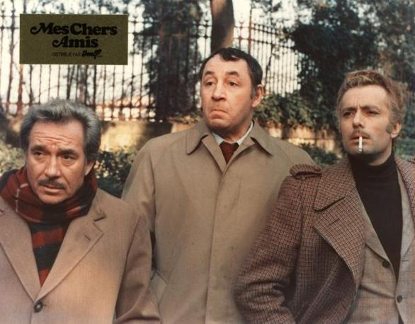 Philippe Noiret, Duilio Del Prete e Ugo Tognazzi in una scena di Amici Miei (Olycom)