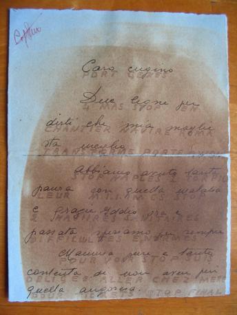 Una lettera inviata da Laura D?Oriano con un messaggio in codice per i servizi segreti