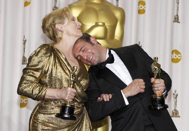 Miglior attori, Meryl Streep ,�The Iron Lady�, e Jean Dujardin,�The Artist� (Reuters)