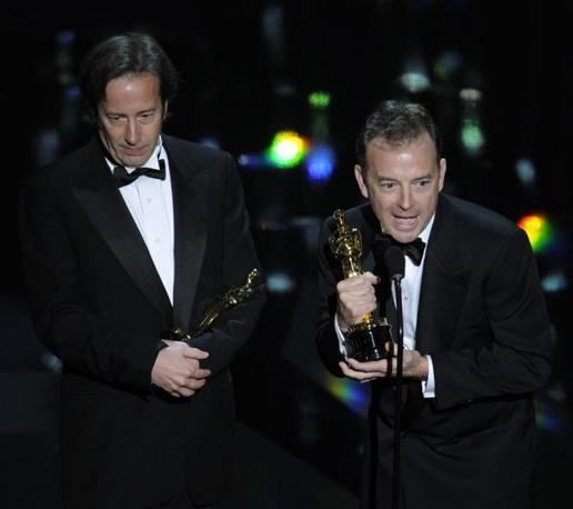 Philip Stockton e Eugene Gearty, miglior montaggio sonoro per «Hugo Cabret» (LaPresse)