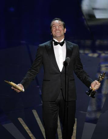 Jean Dujardin, Oscar come miglior attore protagonista per The Artist (LaPresse) 