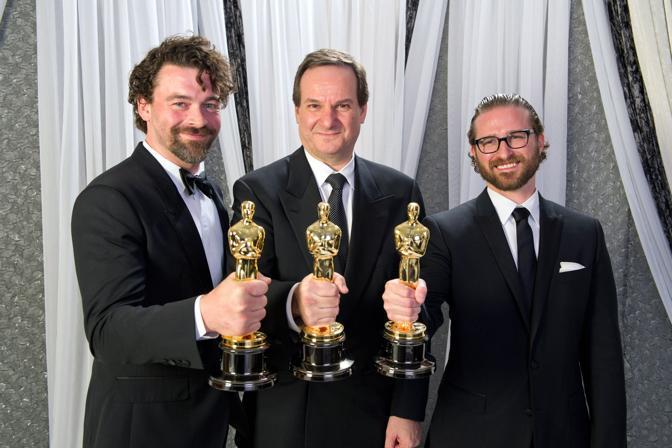 Ben Grossman, Rob Legato e Alex Henning, migliori effetti speciali per «Hugo Cabret» (LaPresse)