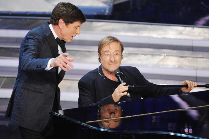 Lucio Dalla con Morandi all'ultimo Festival di Sanremo (Photomasi)