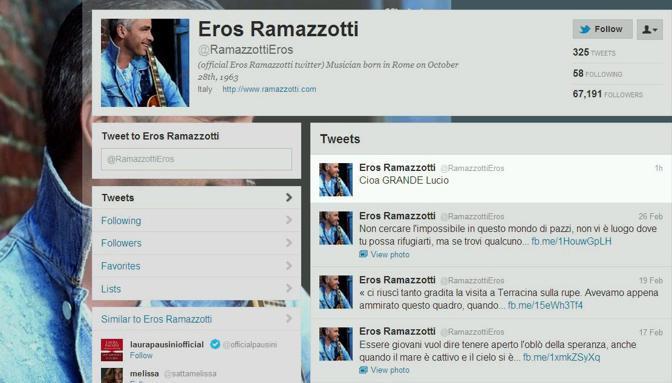 Il tweet di Eros Ramazzotti