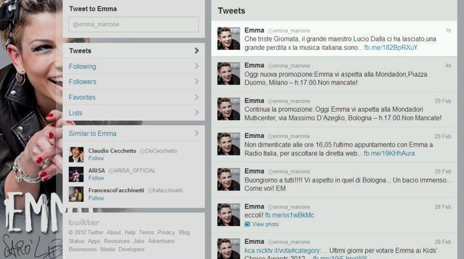 """Emma Marrone twitta: """"una grande perdita per la musica italiana"""""""