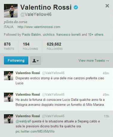 Il messaggio di Valentino Rossi su Twitter per Lucio