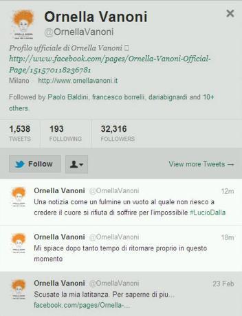«Un vuoto al quale non riesco a credere» è il tweet di Ornella Vanoni